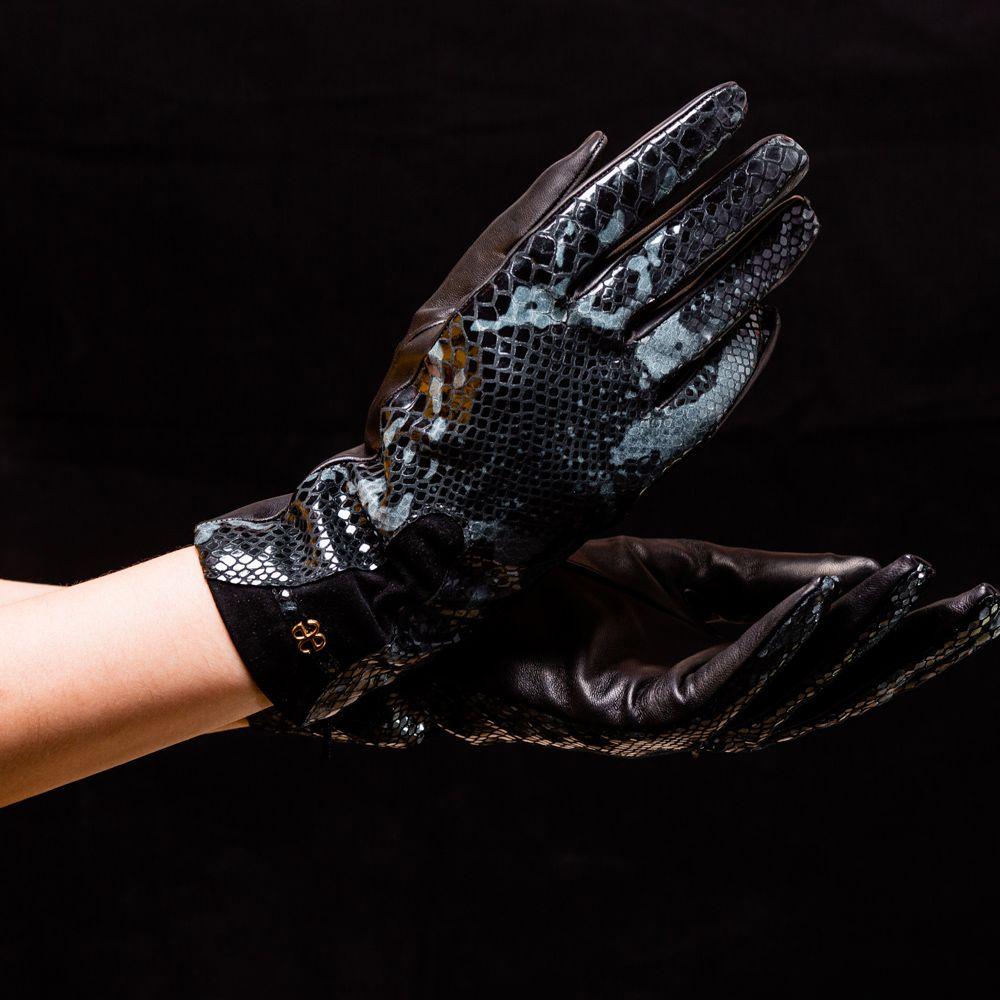 Перчатки женские Omega Elegance PW Python Nero